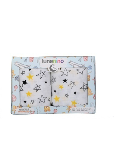 Lunanino Müslin Bebek Bezi 2 Farklı Ebat Tek Kutuda Yıldız Beyaz